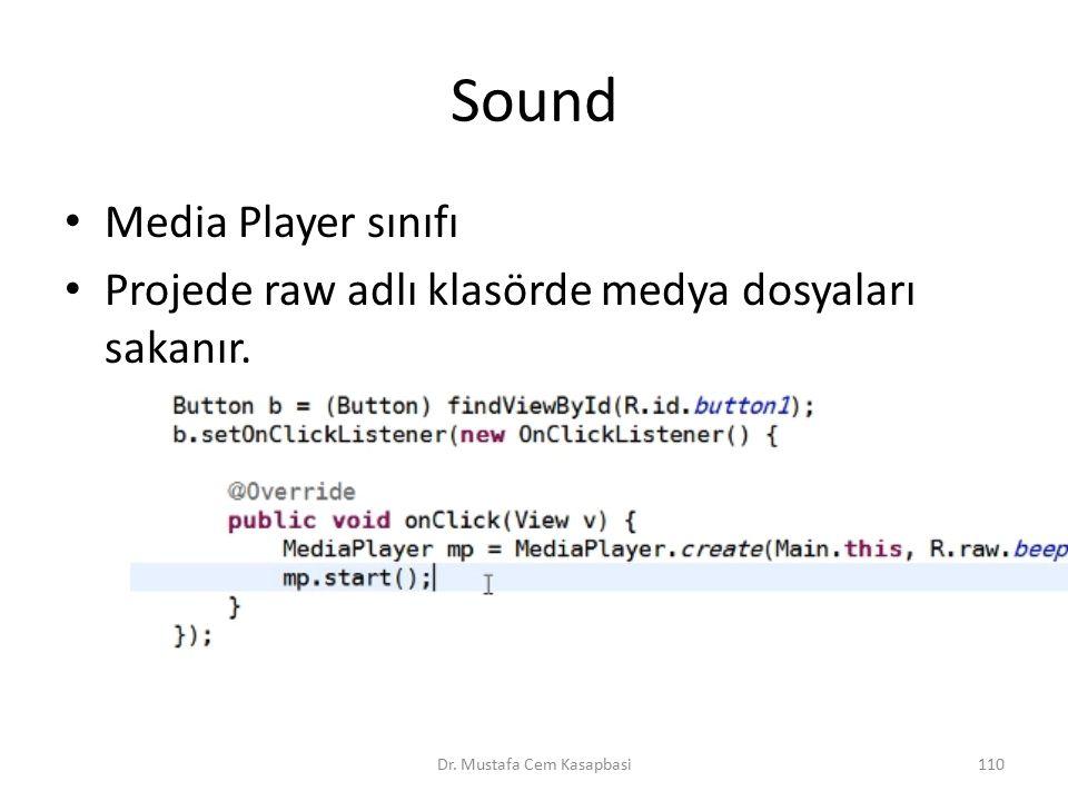Sound Media Player sınıfı Projede raw adlı klasörde medya dosyaları sakanır. Dr. Mustafa Cem Kasapbasi110