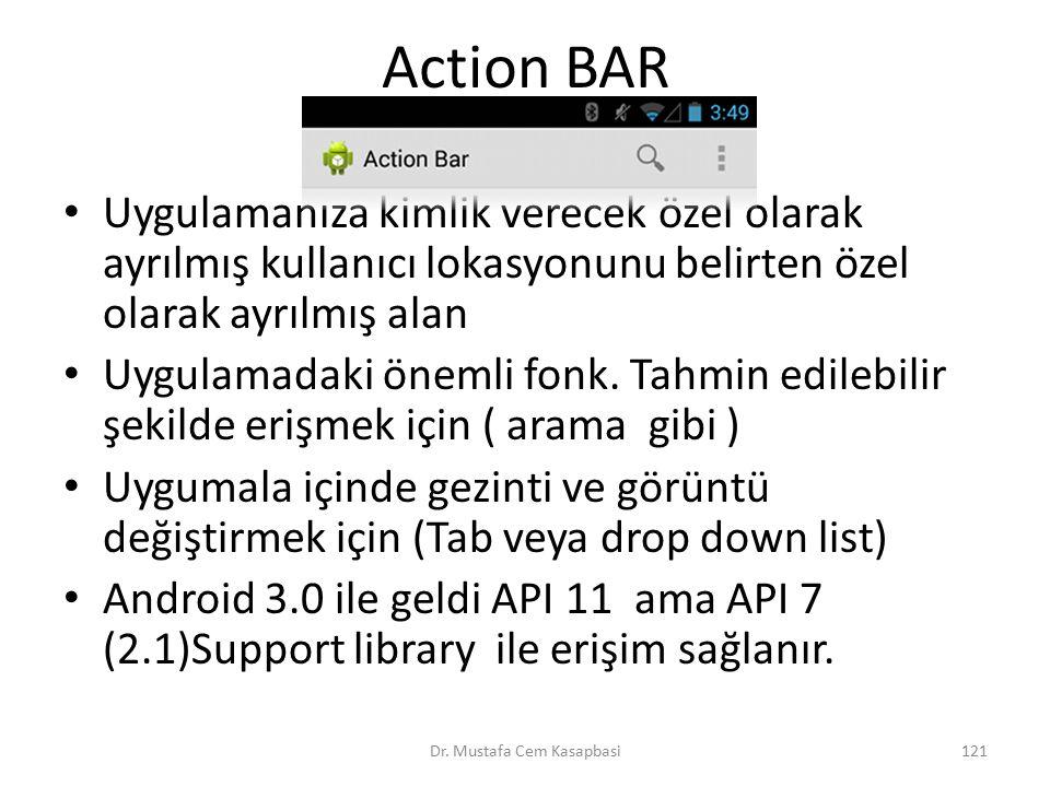 Action BAR Uygulamanıza kimlik verecek özel olarak ayrılmış kullanıcı lokasyonunu belirten özel olarak ayrılmış alan Uygulamadaki önemli fonk. Tahmin
