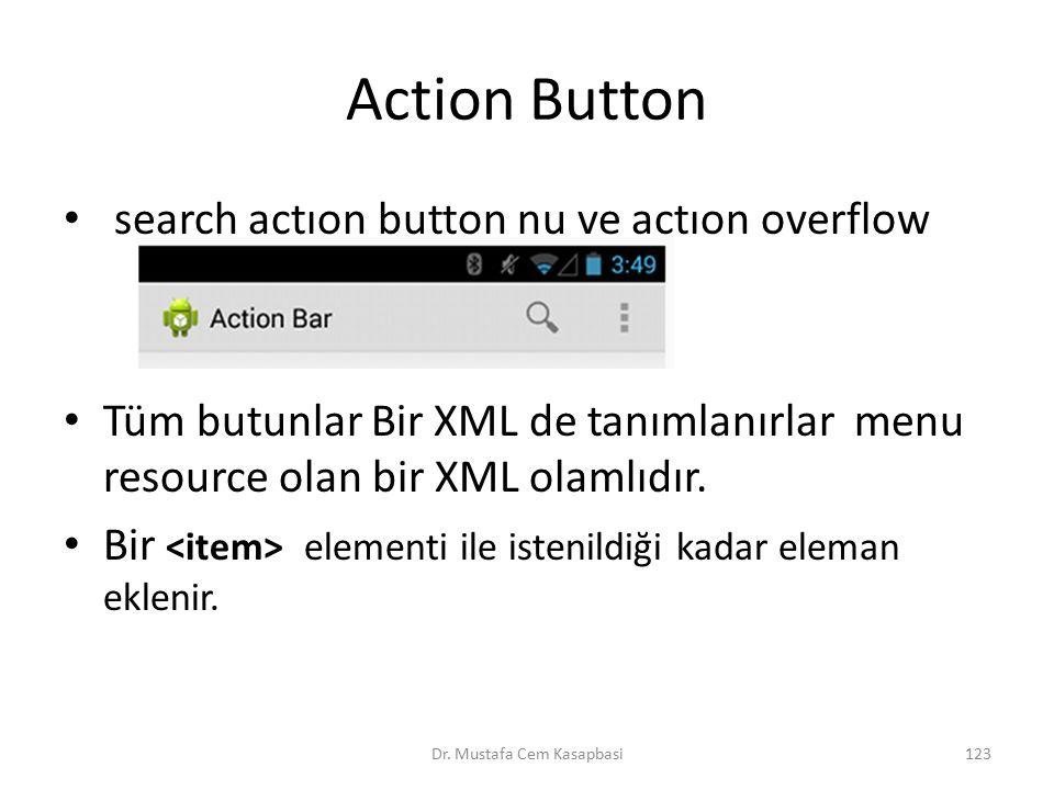 Action Button search actıon button nu ve actıon overflow Tüm butunlar Bir XML de tanımlanırlar menu resource olan bir XML olamlıdır. Bir elementi ile
