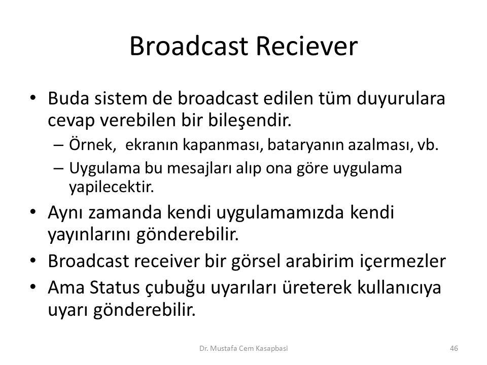 Broadcast Reciever Buda sistem de broadcast edilen tüm duyurulara cevap verebilen bir bileşendir. – Örnek, ekranın kapanması, bataryanın azalması, vb.