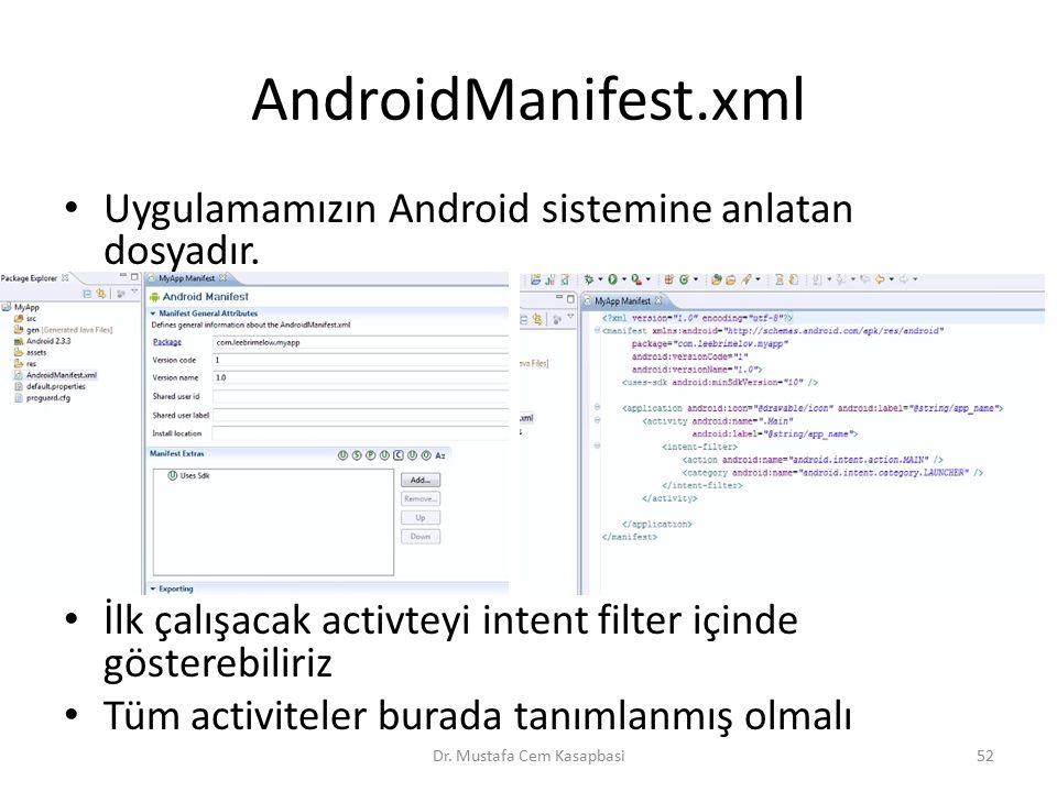 AndroidManifest.xml Uygulamamızın Android sistemine anlatan dosyadır. İlk çalışacak activteyi intent filter içinde gösterebiliriz Tüm activiteler bura