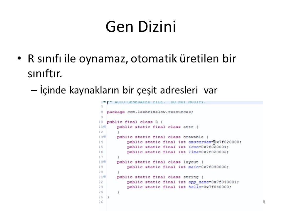 Gen Dizini R sınıfı ile oynamaz, otomatik üretilen bir sınıftır. – İçinde kaynakların bir çeşit adresleri var Dr. Mustafa Cem Kasapbasi59