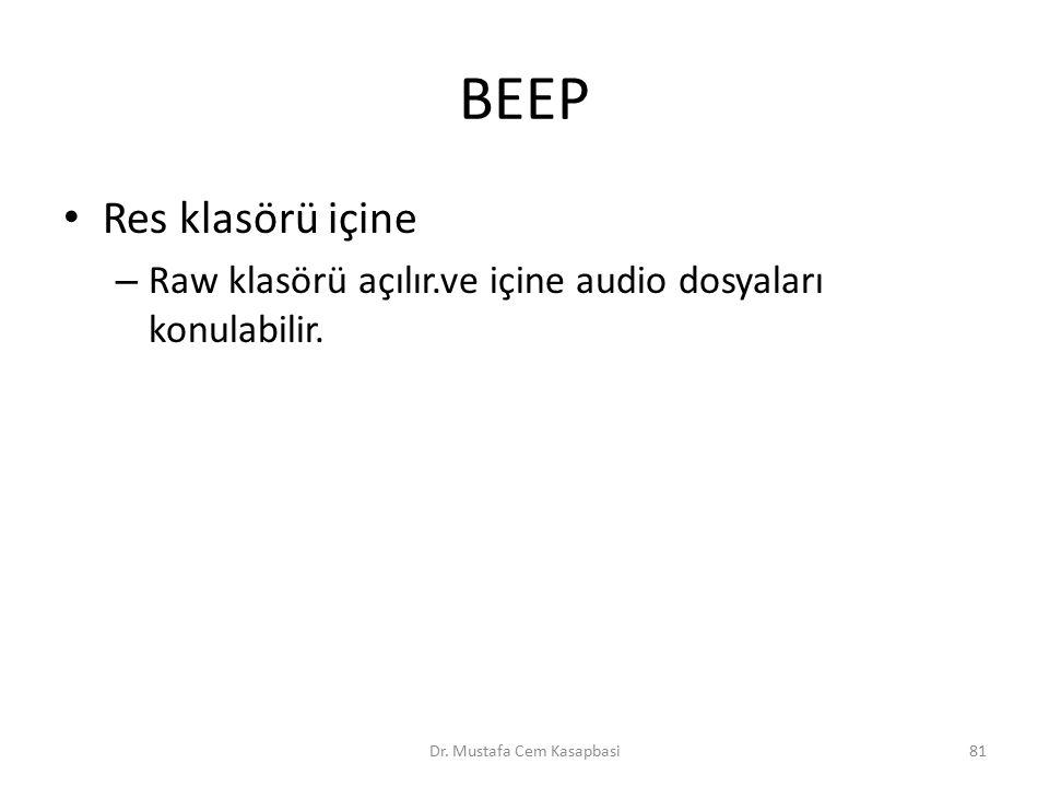 BEEP Res klasörü içine – Raw klasörü açılır.ve içine audio dosyaları konulabilir. Dr. Mustafa Cem Kasapbasi81