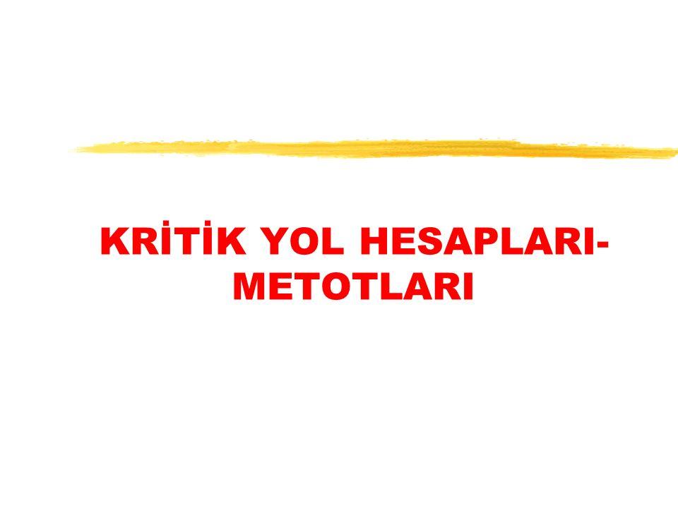 KRİTİK YOL HESAPLARI- METOTLARI