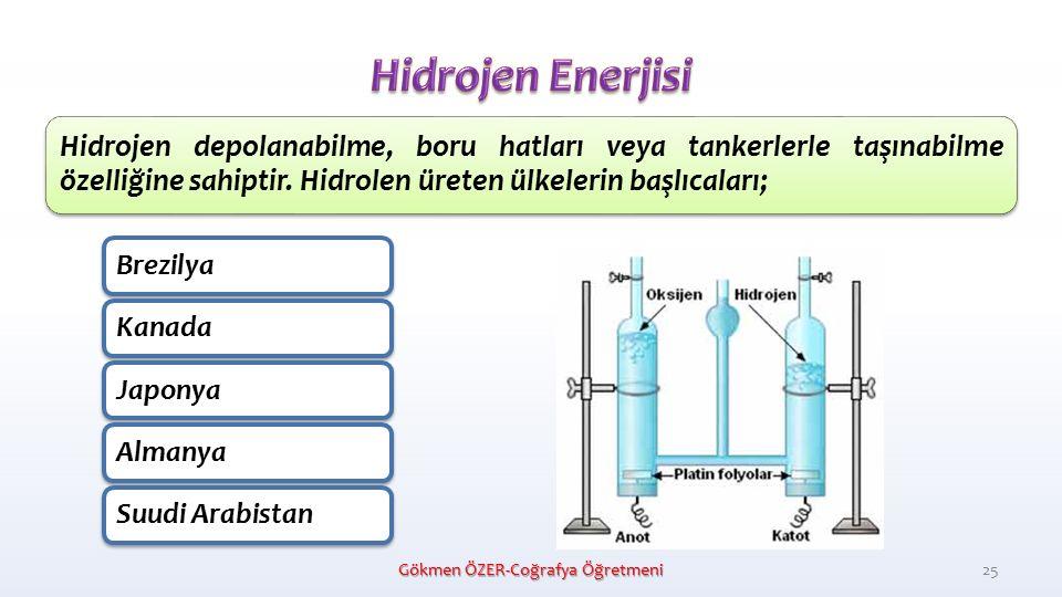 Hidrojen depolanabilme, boru hatları veya tankerlerle taşınabilme özelliğine sahiptir.
