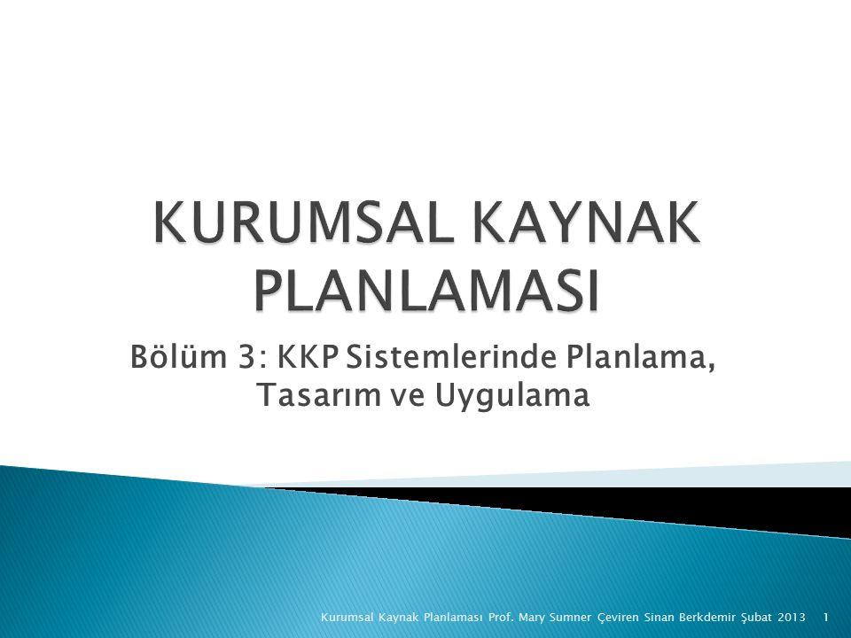 Bölüm 3: KKP Sistemlerinde Planlama, Tasarım ve Uygulama Kurumsal Kaynak Planlaması Prof.