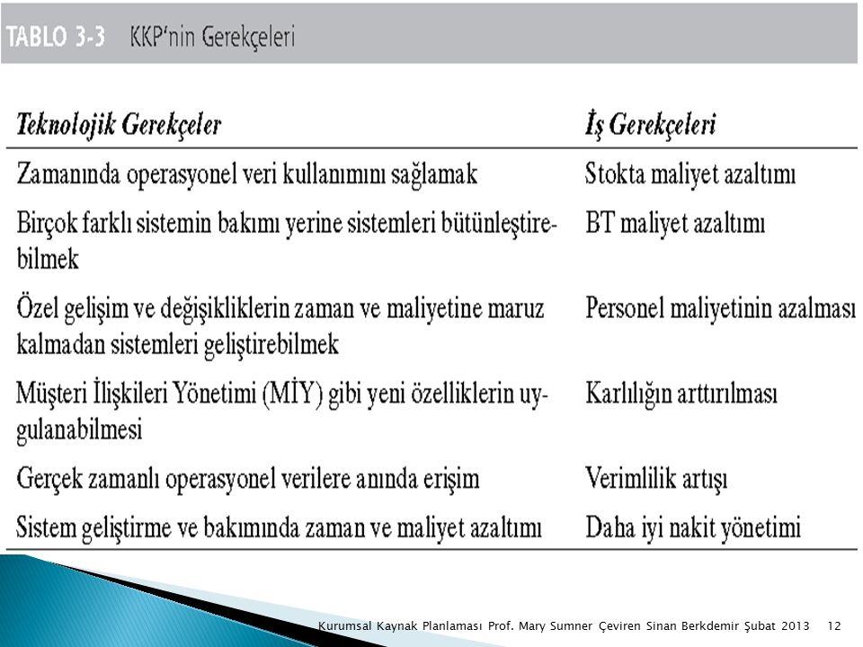 12Kurumsal Kaynak Planlaması Prof. Mary Sumner Çeviren Sinan Berkdemir Şubat 2013