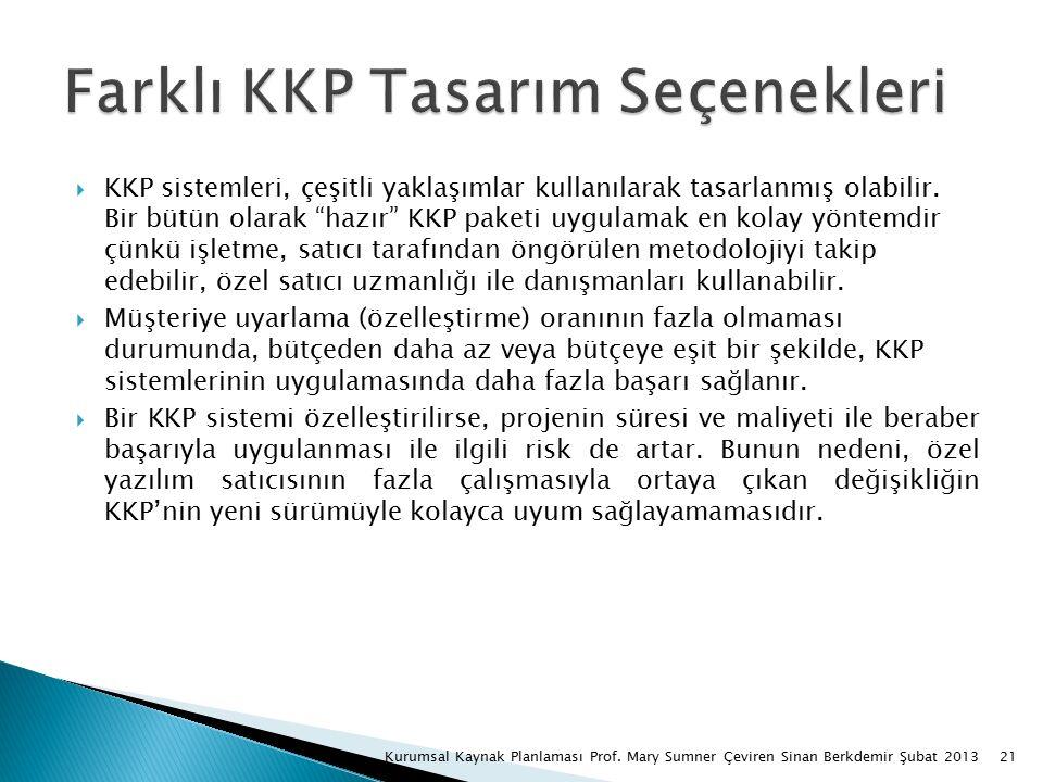  KKP sistemleri, çeşitli yaklaşımlar kullanılarak tasarlanmış olabilir.