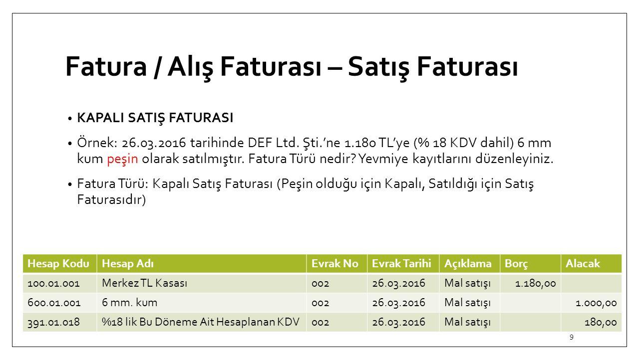Fatura / Alış Faturası – Satış Faturası KAPALI SATIŞ FATURASI Örnek: 26.03.2016 tarihinde DEF Ltd.