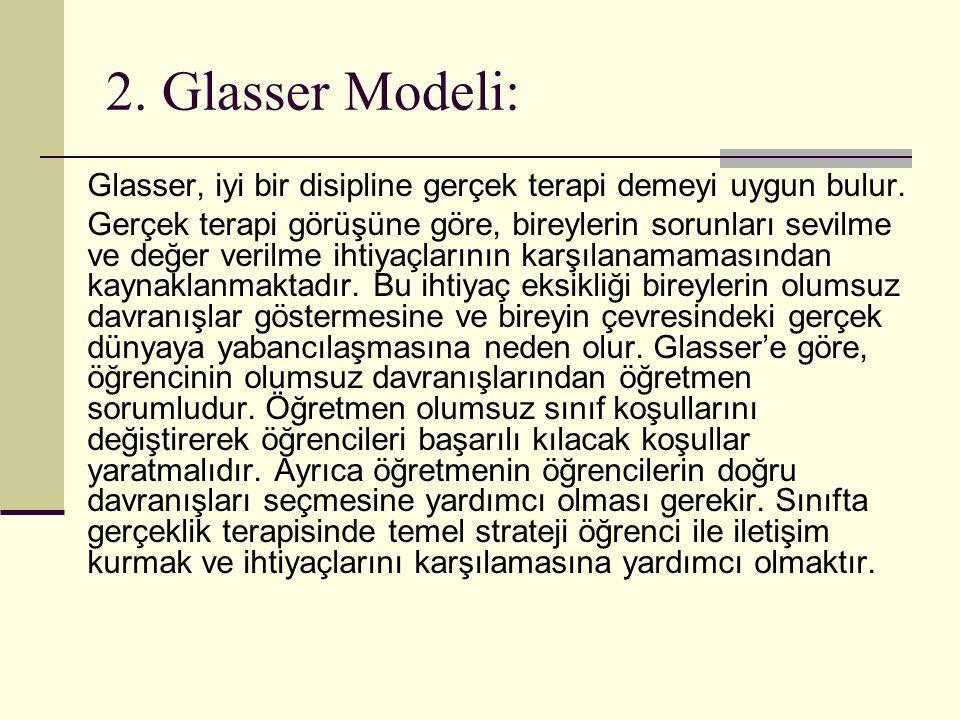 2. Glasser Modeli: Glasser, iyi bir disipline gerçek terapi demeyi uygun bulur. Gerçek terapi görüşüne göre, bireylerin sorunları sevilme ve değer ver