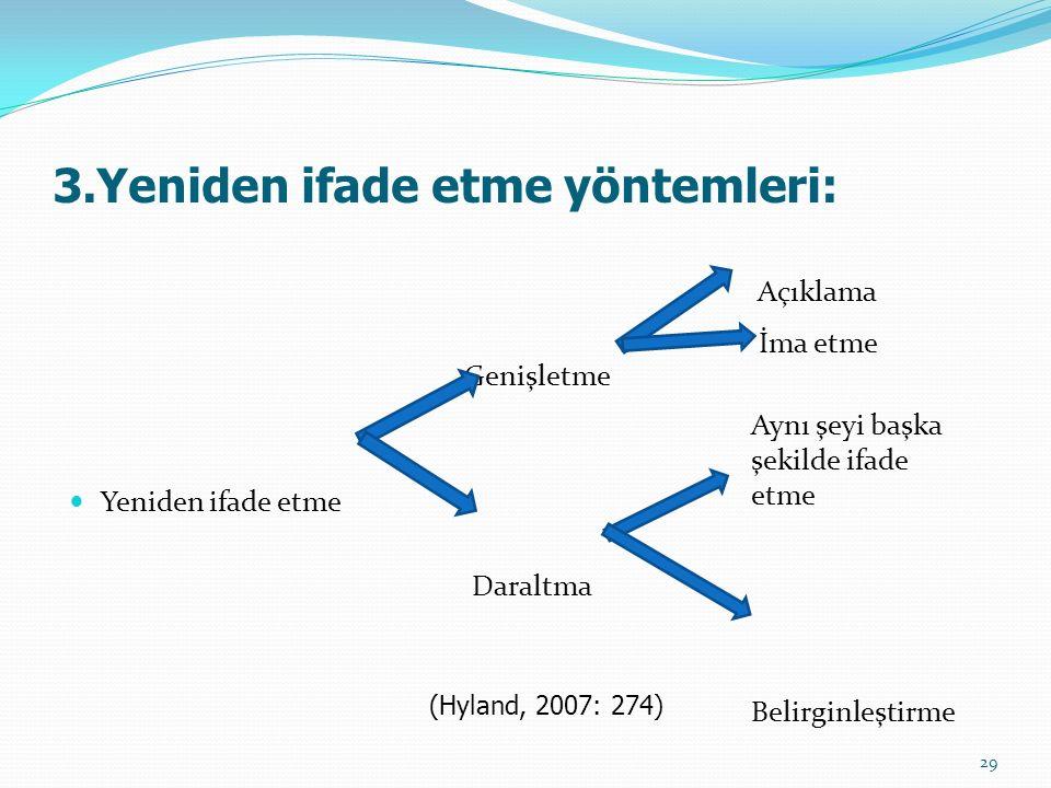 3.Yeniden ifade etme yöntemleri: Açıklama Genişletme Yeniden ifade etme Daraltma Belirginleştirme İma etme (Hyland, 2007: 274) Aynı şeyi başka şekilde ifade etme 29