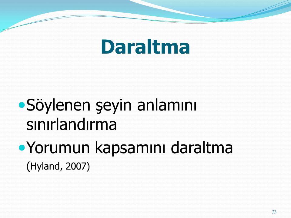 Daraltma Söylenen şeyin anlamını sınırlandırma Yorumun kapsamını daraltma ( Hyland, 2007) 33