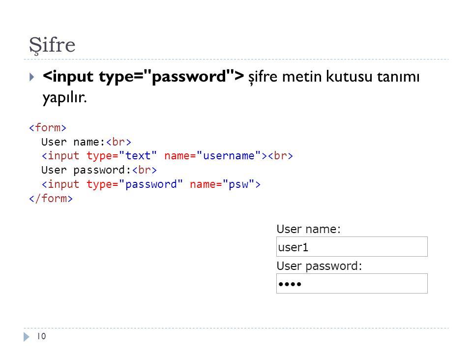 Şifre  şifre metin kutusu tanımı yapılır. 10 User name: User password: