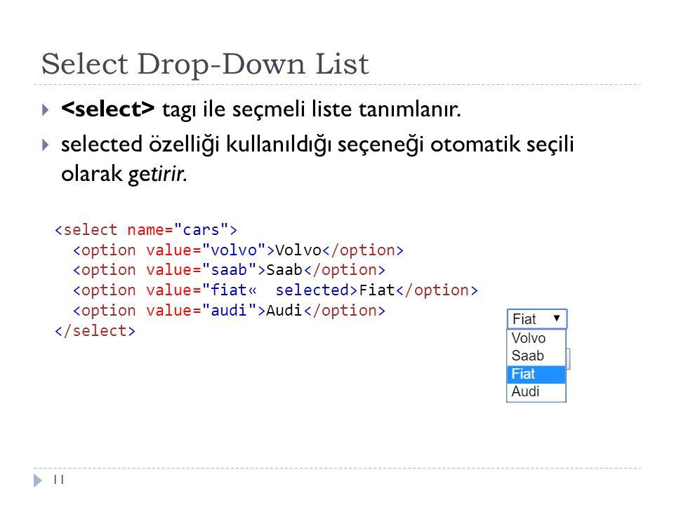 Select Drop-Down List  tagı ile seçmeli liste tanımlanır.  selected özelli ğ i kullanıldı ğ ı seçene ğ i otomatik seçili olarak getirir. 11 Volvo Sa