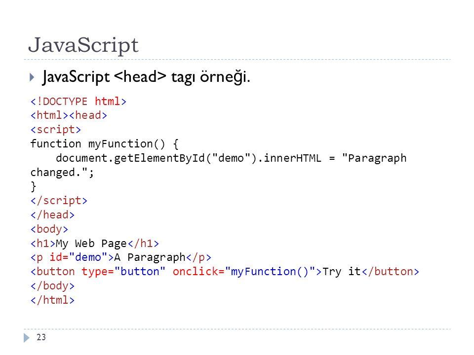 JavaScript  JavaScript tagı örne ğ i. 23 function myFunction() { document.getElementById(