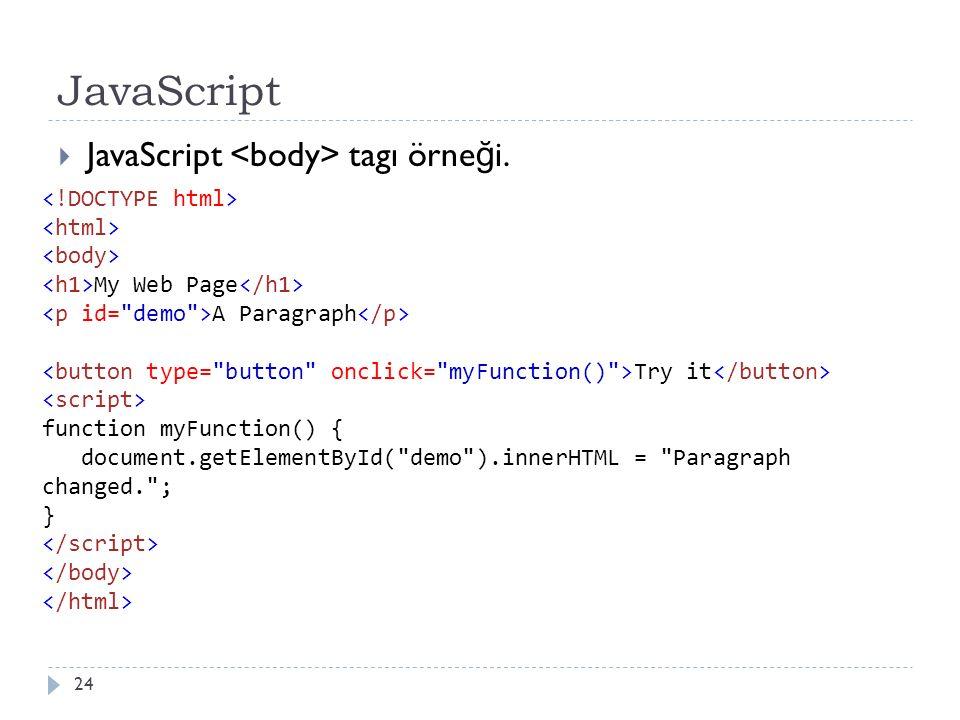 JavaScript  JavaScript tagı örne ğ i. 24 My Web Page A Paragraph Try it function myFunction() { document.getElementById(