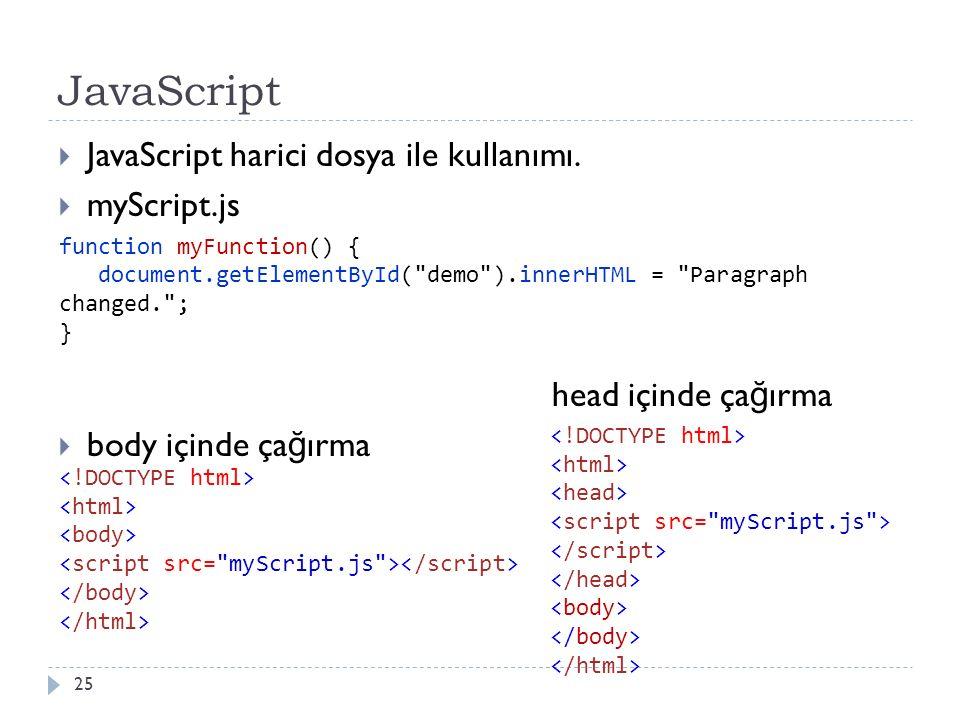 JavaScript  JavaScript harici dosya ile kullanımı.