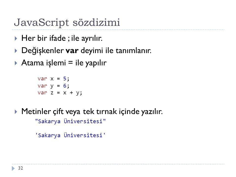 JavaScript sözdizimi 32  Her bir ifade ; ile ayrılır.  De ğ işkenler var deyimi ile tanımlanır.  Atama işlemi = ile yapılır  Metinler çift veya te