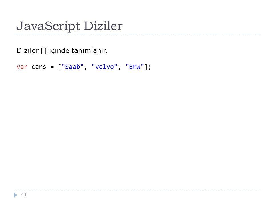 JavaScript Diziler 41 Diziler [] içinde tanımlanır. var cars = [ Saab , Volvo , BMW ];