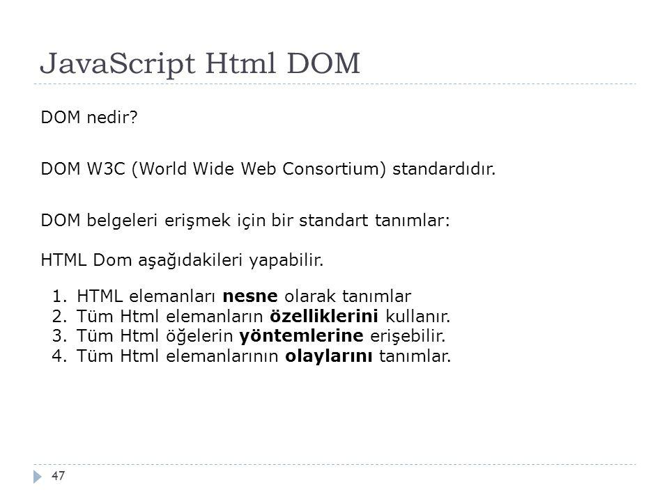 JavaScript Html DOM 47 DOM nedir? DOM W3C (World Wide Web Consortium) standardıdır. DOM belgeleri erişmek için bir standart tanımlar: HTML Dom aşağıda