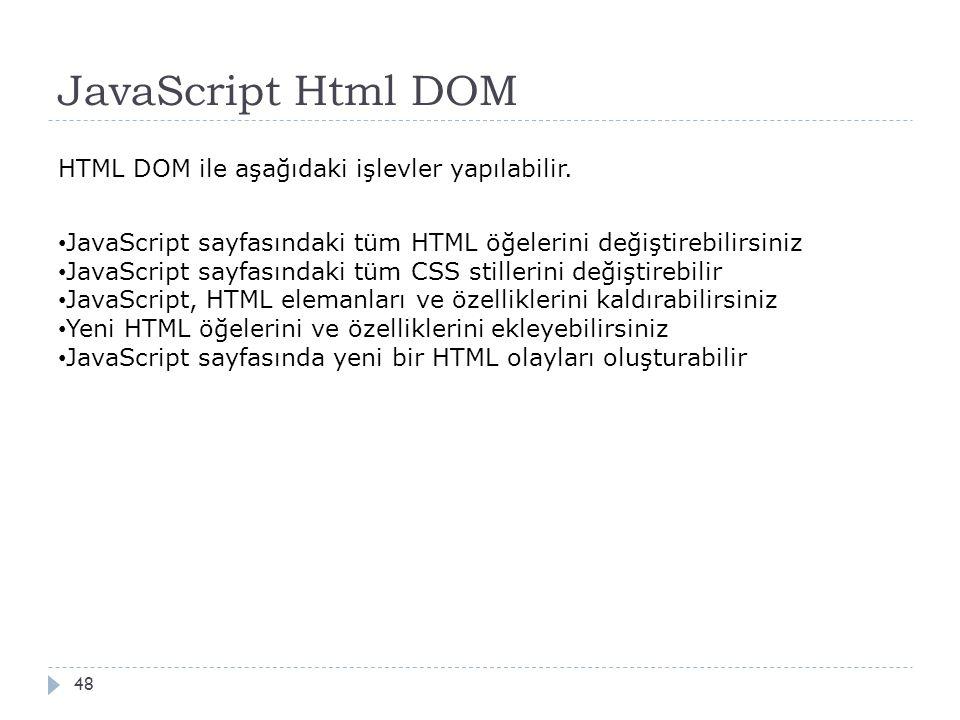 JavaScript Html DOM 48 HTML DOM ile aşağıdaki işlevler yapılabilir. JavaScript sayfasındaki tüm HTML öğelerini değiştirebilirsiniz JavaScript sayfasın