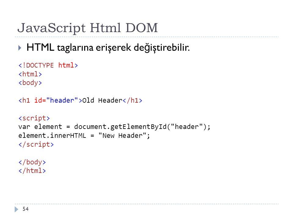 JavaScript Html DOM 54  HTML taglarına erişerek de ğ iştirebilir. Old Header var element = document.getElementById(