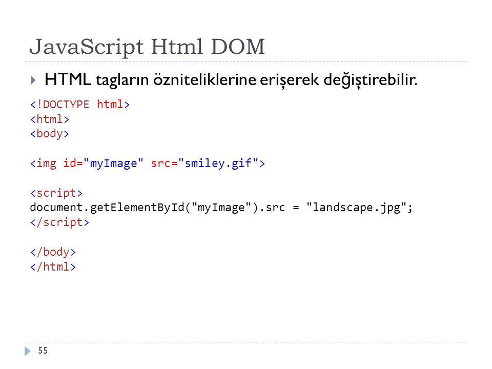 JavaScript Html DOM 55  HTML tagların özniteliklerine erişerek de ğ iştirebilir. document.getElementById(