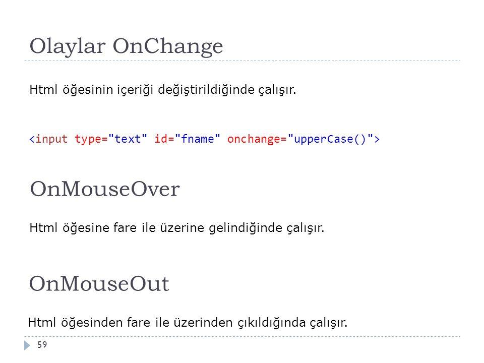 Olaylar OnChange 59 Html öğesinin içeriği değiştirildiğinde çalışır. OnMouseOver Html öğesine fare ile üzerine gelindiğinde çalışır. OnMouseOut Html ö