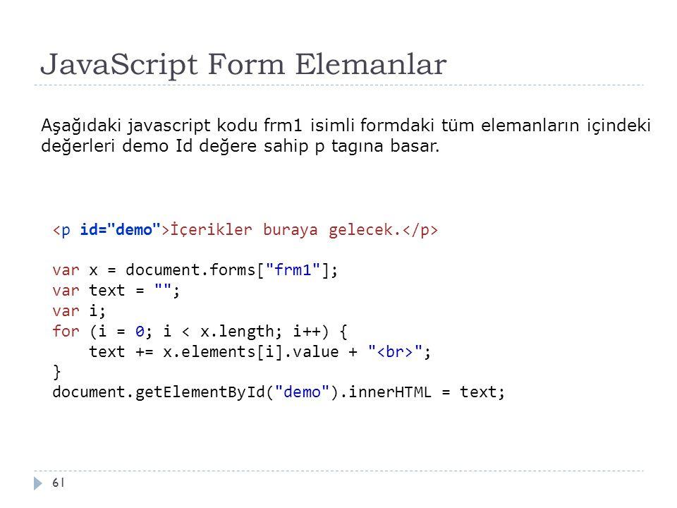 JavaScript Form Elemanlar 61 İçerikler buraya gelecek. var x = document.forms[