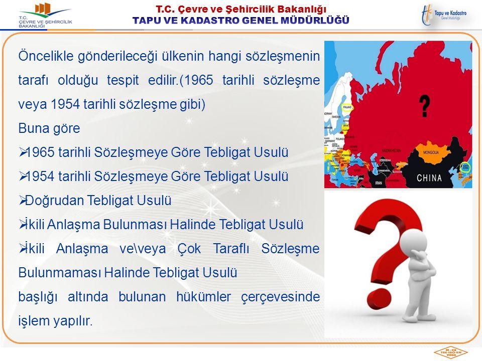 Öncelikle gönderileceği ülkenin hangi sözleşmenin tarafı olduğu tespit edilir.(1965 tarihli sözleşme veya 1954 tarihli sözleşme gibi) Buna göre  1965