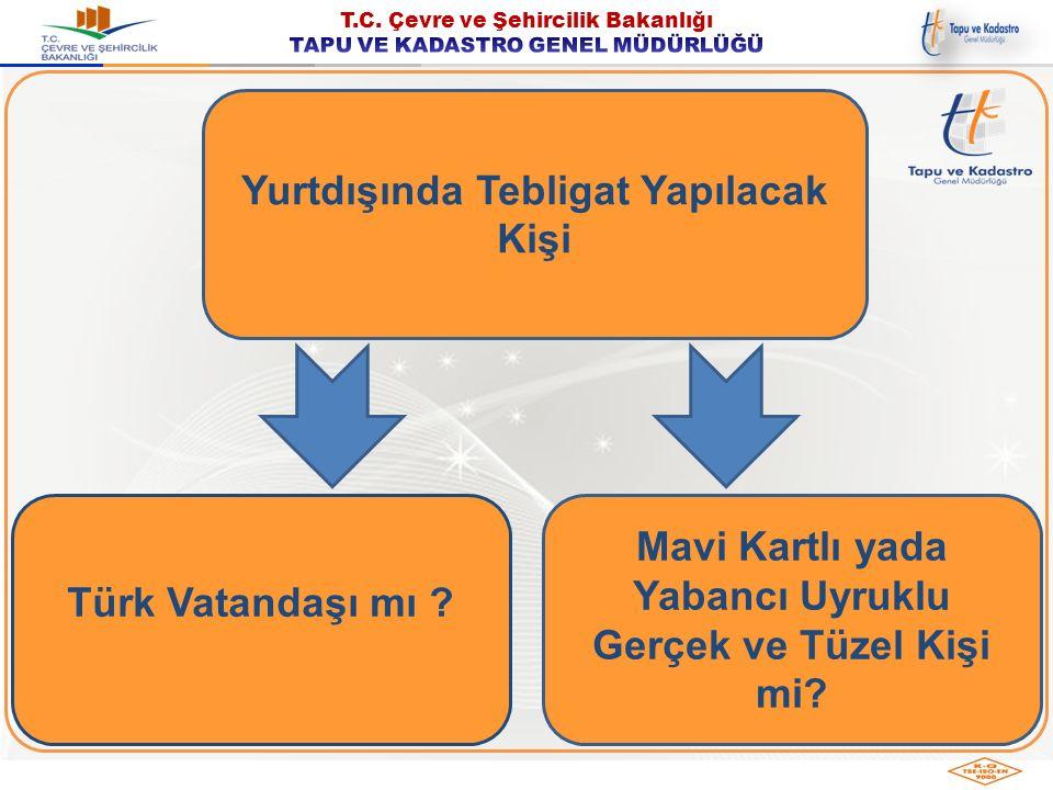 Yurtdışında Tebligat Yapılacak Kişi Türk Vatandaşı mı ? Mavi Kartlı yada Yabancı Uyruklu Gerçek ve Tüzel Kişi mi?