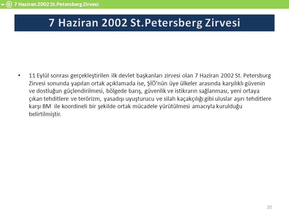 11 Eylül sonrası gerçekleştirilen ilk devlet başkanları zirvesi olan 7 Haziran 2002 St. Petersburg Zirvesi sonunda yapılan ortak açıklamada ise, ŞİÖ'n