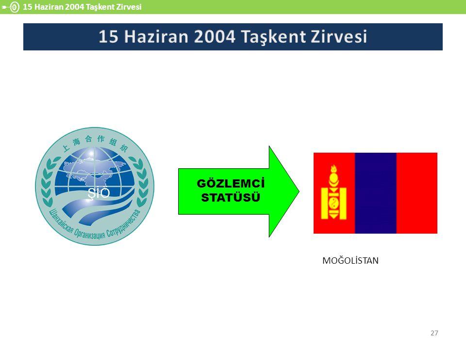 27 15 Haziran 2004 Taşkent Zirvesi 27 Moğolistan GÖZLEMCİ STATÜSÜ ŞİÖ MOĞOLİSTAN