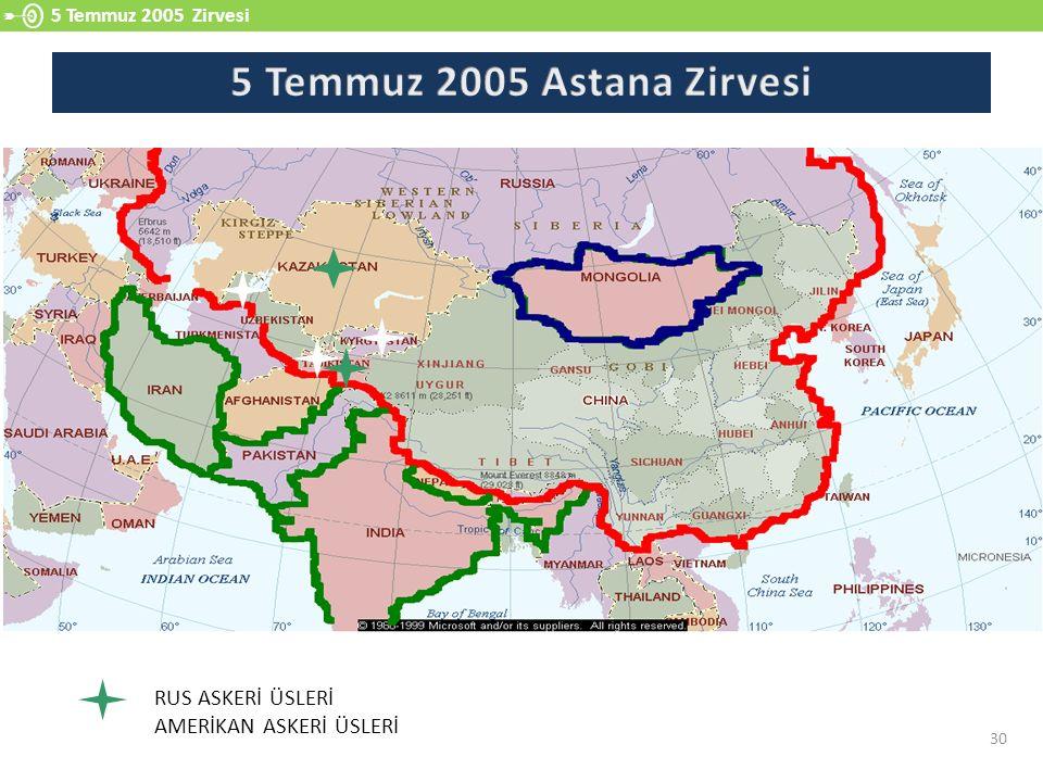 5 Temmuz 2005 Zirvesi 30 RUS ASKERİ ÜSLERİ AMERİKAN ASKERİ ÜSLERİ
