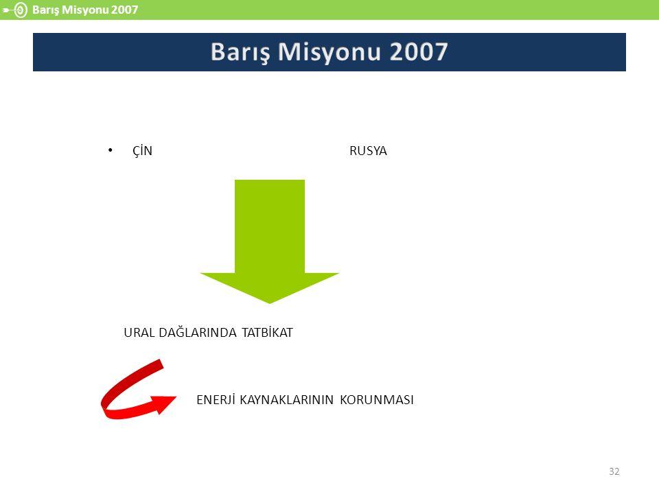 Barış Misyonu 2007 32 ÇİN RUSYA URAL DAĞLARINDA TATBİKAT ENERJİ KAYNAKLARININ KORUNMASI