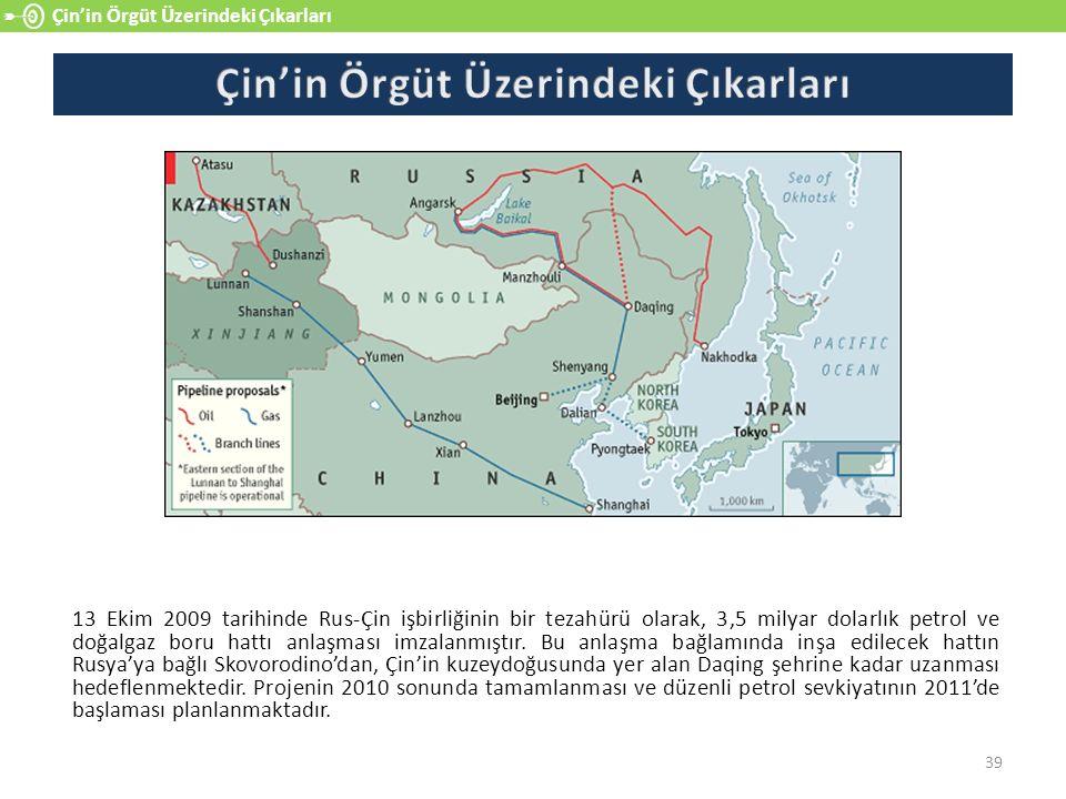 39 Çin'in Örgüt Üzerindeki Çıkarları 13 Ekim 2009 tarihinde Rus-Çin işbirliğinin bir tezahürü olarak, 3,5 milyar dolarlık petrol ve doğalgaz boru hattı anlaşması imzalanmıştır.