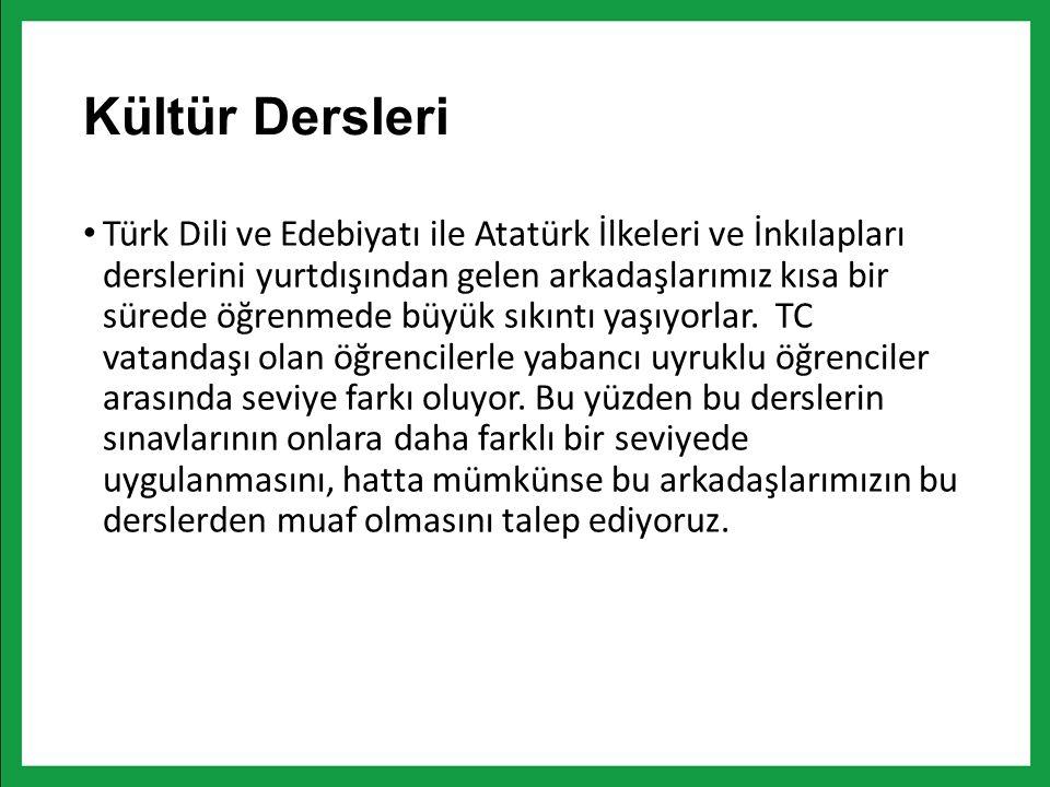 Kültür Dersleri Türk Dili ve Edebiyatı ile Atatürk İlkeleri ve İnkılapları derslerini yurtdışından gelen arkadaşlarımız kısa bir sürede öğrenmede büyük sıkıntı yaşıyorlar.