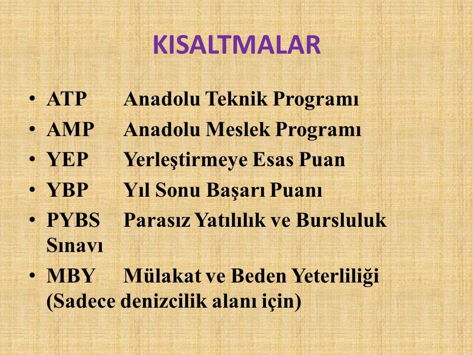 KISALTMALAR ATP Anadolu Teknik Programı AMP Anadolu Meslek Programı YEP Yerleştirmeye Esas Puan YBP Yıl Sonu Başarı Puanı PYBS Parasız Yatılılık ve Bu