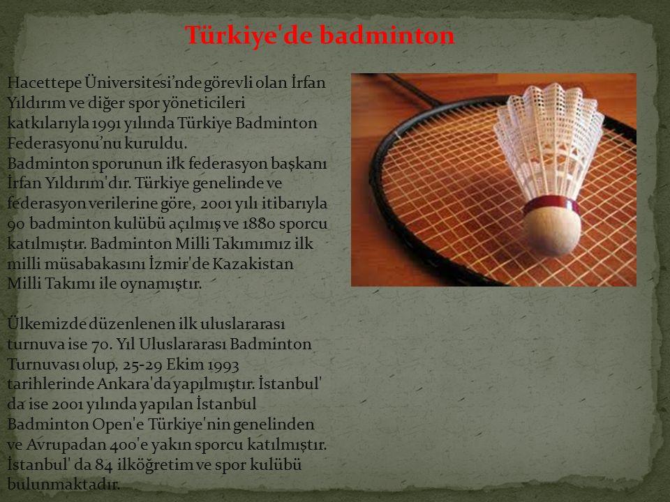 Hacettepe Üniversitesi'nde görevli olan İrfan Yıldırım ve diğer spor yöneticileri katkılarıyla 1991 yılında Türkiye Badminton Federasyonu'nu kuruldu.