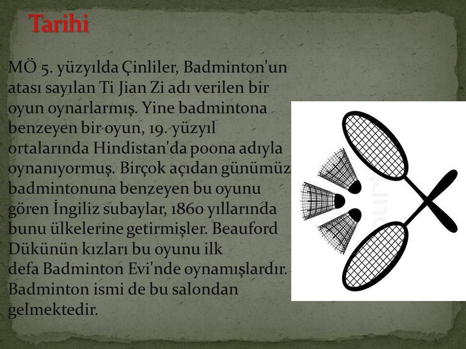 MÖ 5. yüzyılda Çinliler, Badminton'un atası sayılan Ti Jian Zi adı verilen bir oyun oynarlarmış. Yine badmintona benzeyen bir oyun, 19. yüzyıl ortalar