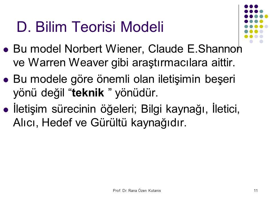 Prof. Dr. Rana Özen Kutanis11 D. Bilim Teorisi Modeli Bu model Norbert Wiener, Claude E.Shannon ve Warren Weaver gibi araştırmacılara aittir. Bu model