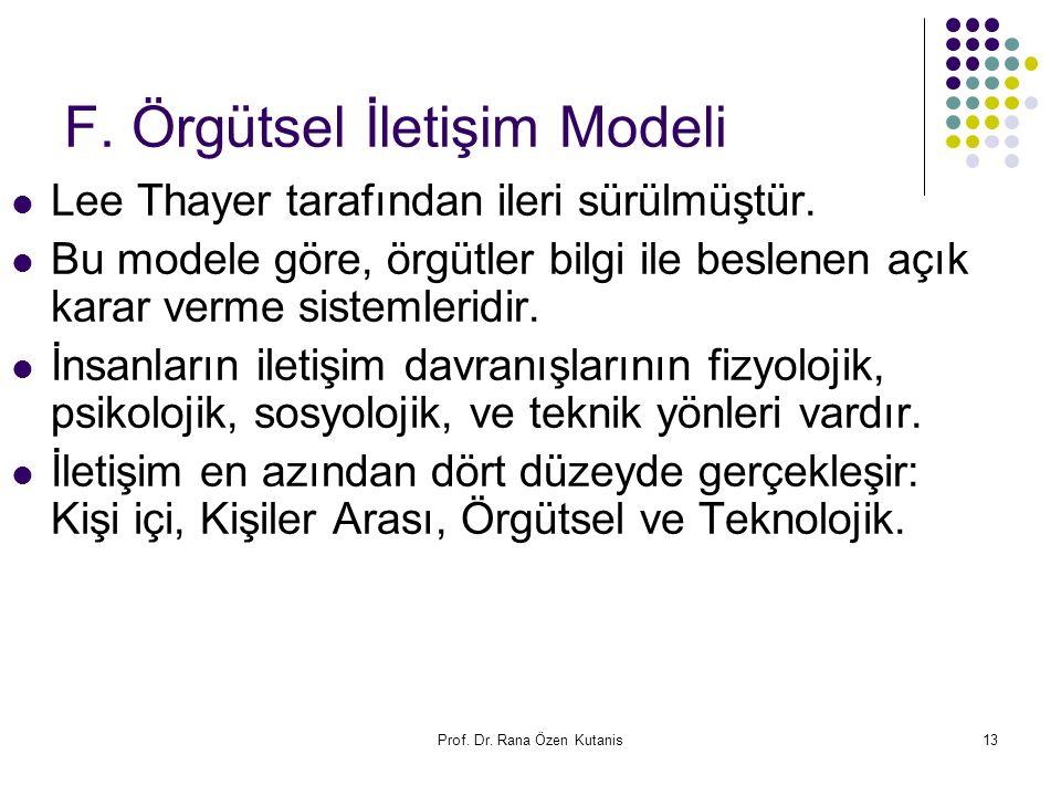 Prof. Dr. Rana Özen Kutanis13 F. Örgütsel İletişim Modeli Lee Thayer tarafından ileri sürülmüştür. Bu modele göre, örgütler bilgi ile beslenen açık ka