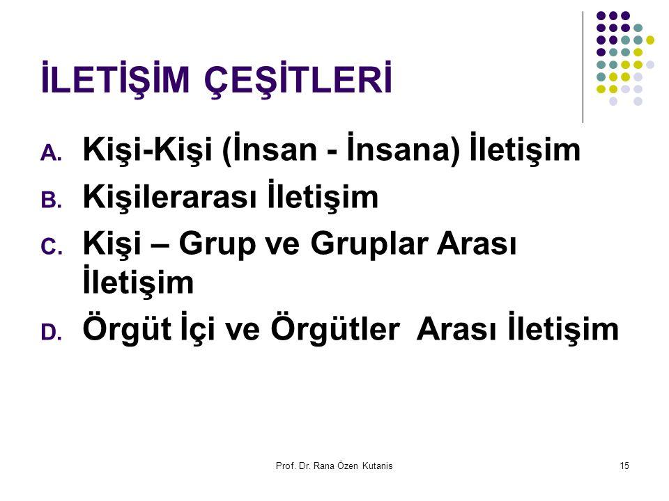 Prof. Dr. Rana Özen Kutanis15 İLETİŞİM ÇEŞİTLERİ A. Kişi-Kişi (İnsan - İnsana) İletişim B. Kişilerarası İletişim C. Kişi – Grup ve Gruplar Arası İleti