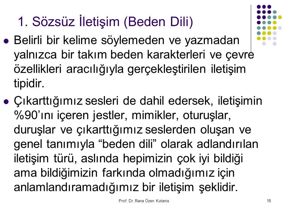 Prof. Dr. Rana Özen Kutanis18 1. Sözsüz İletişim (Beden Dili) Belirli bir kelime söylemeden ve yazmadan yalnızca bir takım beden karakterleri ve çevre