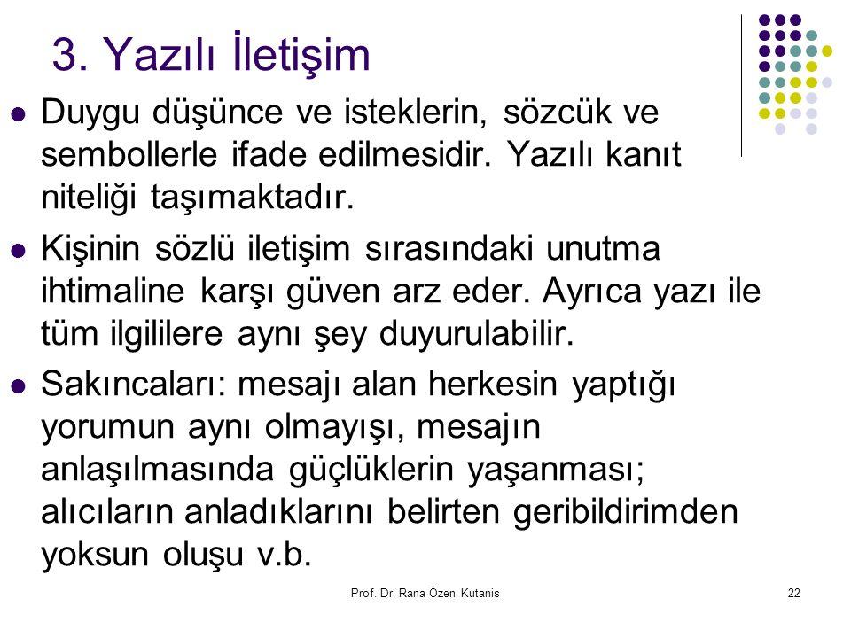 Prof. Dr. Rana Özen Kutanis22 3. Yazılı İletişim Duygu düşünce ve isteklerin, sözcük ve sembollerle ifade edilmesidir. Yazılı kanıt niteliği taşımakta