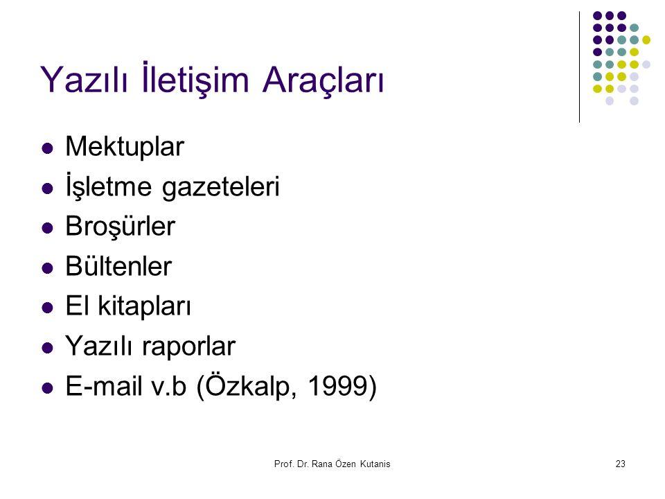 Prof. Dr. Rana Özen Kutanis23 Yazılı İletişim Araçları Mektuplar İşletme gazeteleri Broşürler Bültenler El kitapları Yazılı raporlar E-mail v.b (Özkal
