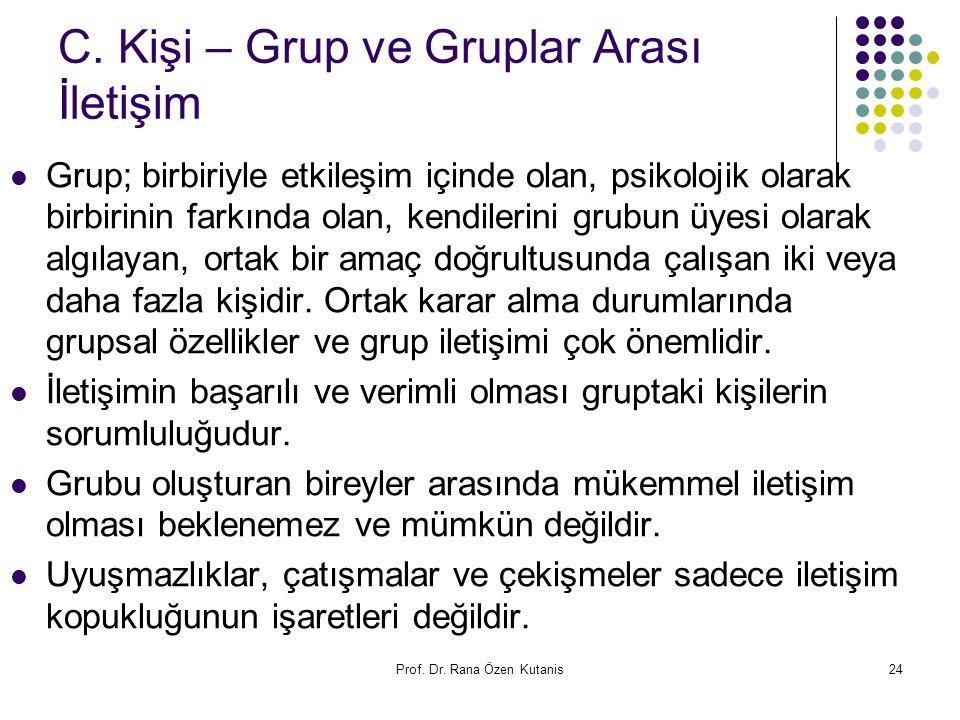 Prof. Dr. Rana Özen Kutanis24 C. Kişi – Grup ve Gruplar Arası İletişim Grup; birbiriyle etkileşim içinde olan, psikolojik olarak birbirinin farkında o