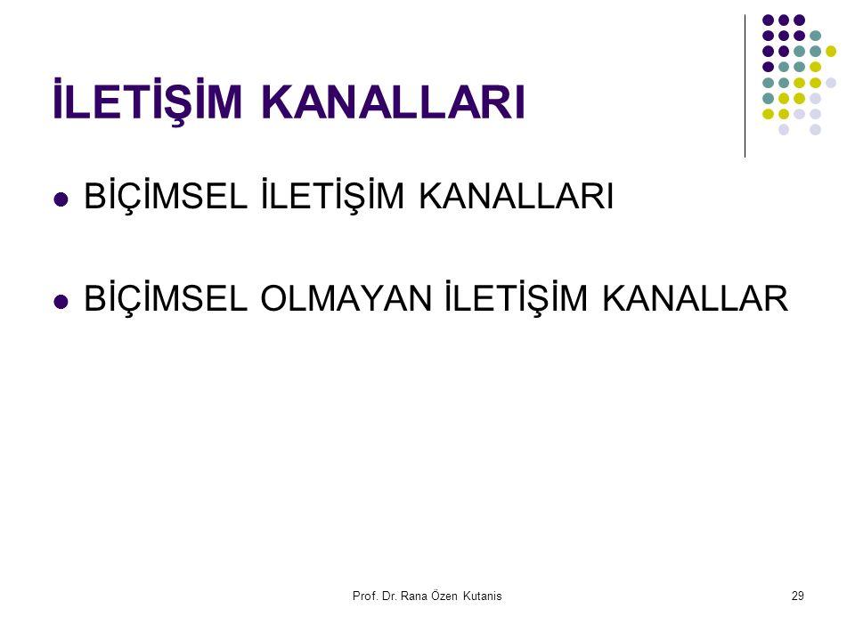 Prof. Dr. Rana Özen Kutanis29 İLETİŞİM KANALLARI BİÇİMSEL İLETİŞİM KANALLARI BİÇİMSEL OLMAYAN İLETİŞİM KANALLAR