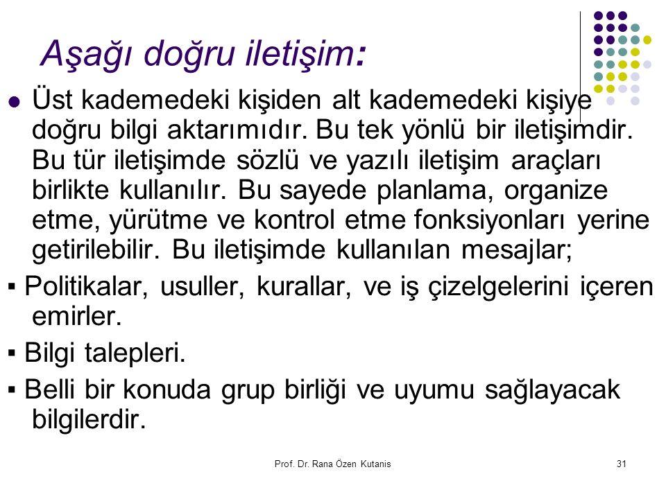 Prof. Dr. Rana Özen Kutanis31 Aşağı doğru iletişim: Üst kademedeki kişiden alt kademedeki kişiye doğru bilgi aktarımıdır. Bu tek yönlü bir iletişimdir