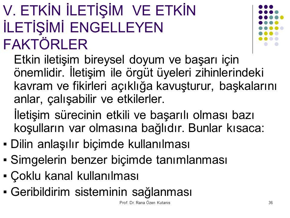 Prof. Dr. Rana Özen Kutanis36 V. ETKİN İLETİŞİM VE ETKİN İLETİŞİMİ ENGELLEYEN FAKTÖRLER Etkin iletişim bireysel doyum ve başarı için önemlidir. İletiş